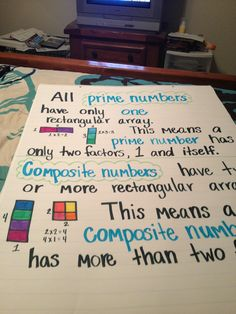 Prime Number Math Anchor Chart BRILLIANT way to teach prime/composite!