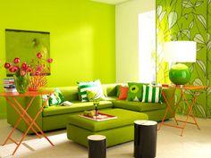 Sala en naranja y verde