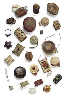 A LARGE COLLECTION OF REGENCY AND VICTORIAN NEEDLEWORK TOOLS, ACCESSORIES, PIN CUSHIONS AND MINIATURE OBJECTS