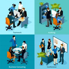Buy People on Work Isometric Icon Set by macrovector on GraphicRiver. Four isometric icons with office workers in team working audition business consulting and conference vector illustrat. Isometric Sketch, Isometric Art, Isometric Design, Storyboard, Icon Set, Adobe Illustrator, Human Vector, Mosaic Pictures, People Icon