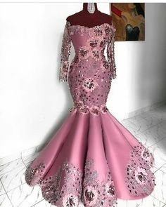 Elegant Aso Ebi Flower Mermaid Evening Dresses 2019 Full Sleeves Off The Shoulder Lace African Evening Gowns African Lace Styles, African Lace Dresses, Latest African Fashion Dresses, African Print Fashion, Ankara Styles, Nigerian Lace Styles, African Flowers, African Wedding Attire, African Attire