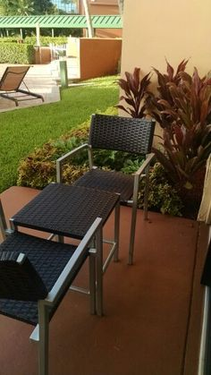 Little patio seating out side my room.