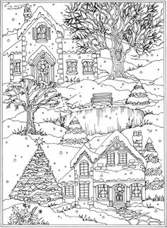 Winter Scenery Coloring Pages - Winter Scenery Coloring Pages , Freebie Snow Scene Coloring Page – Stamping Coloring Pages Winter, Christmas Coloring Pages, Coloring Book Pages, Printable Coloring Pages, Coloring Sheets, Coloring Pages For Kids, Christmas Colors, Christmas Art, Country Christmas