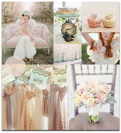 Pastel colors. Different bridesmaids dresses