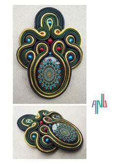 Handmade ANU Jewelry Soutache Pendant Green Blue Red