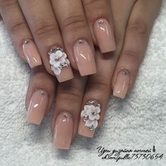 Nude nails are really cute Nail Swag, Stylish Nails, Trendy Nails, Ongles Bling Bling, Nail Art Designs, 3d Flower Nails, Nagel Bling, Bride Nails, Best Acrylic Nails