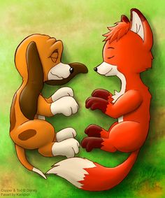 "Copper and Tod from the disney's movie ""The Fox And The Hound"" Ah, Tod is so cute. Well, actually I haven't fully watch that movie. Lying Together Disney Pixar, All Disney Movies, Disney Icons, Disney And More, Disney Fan Art, Disney Cartoons, Disney Dream, Disney Magic, Disney Drawings"