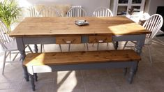 Reclaimed farmhouse dining table x with 5 chairs and matching bench