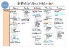 Example of a Kids Weekly Activity List. Click for details and free downloadable template.