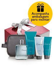 Presente Natura Homem - Desodorante Colônia + Shampoo + Gel para Barbear + Gel pós-barba + Nécessaire + Embalagem