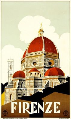 Firenze / Vintage Travel Poster for Florencia www. - Firenze / Vintage Travel Poster for Florencia www. Vintage Italian Posters, Vintage Travel Posters, Vintage Ads, Vintage Style, Art Vintage, Design Vintage, Vintage Canvas, Vintage Horror, Wedding Vintage