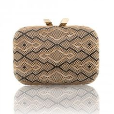 KOTUR Clutch, Raffia Morley (Raffia Aegean Blue). Designed to deliver an earthy romance this Spring, the Raffia Morley features a brass box case covered in a graphic woven, Black and Natural, geometric design.
