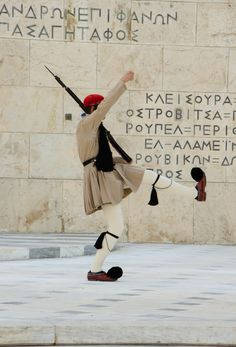 Greek Evzone Soldier during guard change, Athens , Greece *