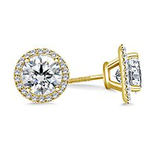Halo Round Diamond Earring with Micro Pave in 14K Yellow Gold http://balori.com/pins/841