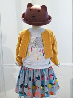 Sweet animal felt hat and mixed patterns and textures for little girls at Marks and Spencer for fall 2014 #girlswear