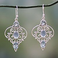 Blue topaz dangle earrings, 'Blue Arabesque' from @NOVICA, They help #artisans succeed worldwide.