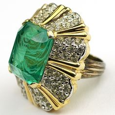 Jomaz Gold Pave and Square Cut Emerald Finger Ring