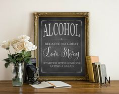 Instant Printable ALCOHOL Table Sign Wedding by mylovenotedesigns