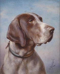 Dog [hound] portrait -- by Carl Reichert (1836--1918, Austrian)