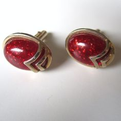 Vintage Red Glitter Goldtone Cufflinks by SWANK // by MKRetro, $28.00