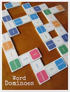 Practice parts of speech with word dominoes! Free printable.
