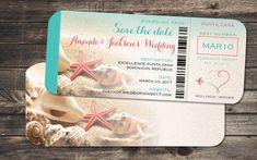 Speichern Sie die Datum boarding Pass Ticket Einladung set für Ihre bevorstehende Hochzeit in Punta Cana, Jamaika, Mexiko, Cabo und anderen karibischen oder weit entfernten Orten. Korallen, Seesterne und Muscheln vorgestellten Strand Gefühl hinzu. Herz mit Flugzeug Grafik am rechten mit Aqua Blues und tropischen Korallen Farben umrahmen die Bordkarte.  Speichern Sie das Datum ist 9 x 4 Matte Luchs 100 lb Karton, gute Steifigkeit und natürlicher aussehende aufgedruckt. Kommt mit Creme…