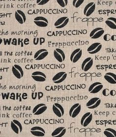 Springs Creative Coffee Beans Printed Burlap Fabric - $3.95 | onlinefabricstore.net