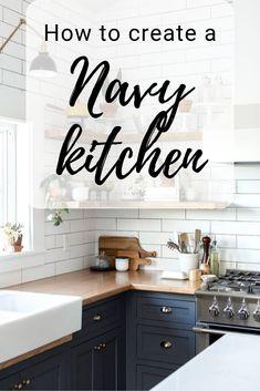 Design your own Navy Kitchen How to nail this trend and make it your own Navy Kitchen, Kitchen Size, Country Kitchen, Kitchen Wall Colors, Kitchen Decor, Kitchen Design, Kitchen Ideas, Best Flooring, Kitchen Worktop