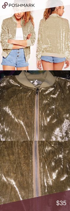 Treasure Gold Distress Zipper Jacket Wow I can explain how beautiful this jacket is, the material is super soft and wonderful!   ---Check out my store for more fashionable styles-----  Material: Velvet  Color: Gold Distress Size: Large Velvet Jackets & Coats Blazers