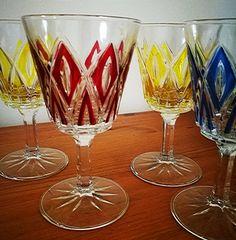 Vintage harlequin glasses, Mid century glasses, Diamond cut set of 4 aperitif glasses, wine glasses, French Reims Liqueur Goblets