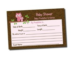 Baby Shower Advice & Prediction Cards Pink Owl