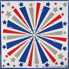 "Firework Quilt, 36 x 36"", appliqued.  2014 Bloggers Quilt Festival, by Cynthia at  Ahhh...Quilting"