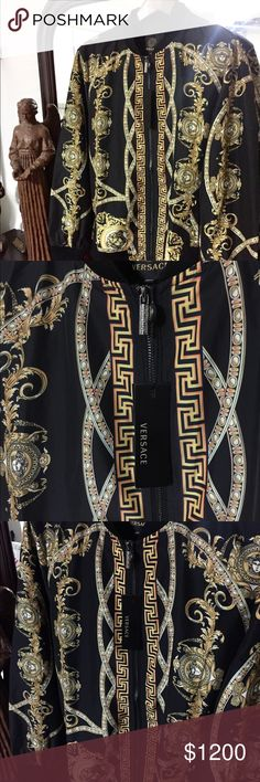 Versace Jacket (Exclusive Lion Trophy Design!!🔥🔥 This beautiful Versace Jacket features Versace heads, gold abstract decor designs, Greek Key designs, palladium Greek Key zipper and a trophy 🏆 along the back adorned with 2 lions!! This bold piece is stunning!! 🔥🔥 Enjoy Versace Jackets & Coats Bomber & Varsity
