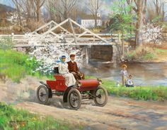 """1903 Oldsmobile by Harry Anderson - """"Come Away with Me, Lucille, in My Merry Oldsmobile""""  from Great Moments in Early American Motoring EXXON/ESSO Car Calender"""