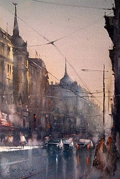 Watercolor, Belgrade, 38x56 cm / Dusan Djukaric / lives and works in Belgrade. Very respected and esteemed master of watercolor painting, who dominates the atmosphere of the painting with ease, equally successful in all motifs: city and genre scenes, marines, nudes, landscapes. He paints the world and events around us, introducing us to the great mystery of watercolor painting, the most difficult panting discipline. Member of the Association of Applied Arts Artists and Designers of Serbia.