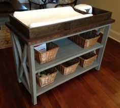 Rustic X DIY Changing Table, I would love to make it a shelf, since we are out of diapers.