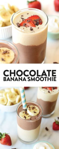 Have the best of both worlds with this delicious Layered Chocolate Banana Protein Smoothie that has 25 grams of protein per serving smoothie healthrecipe chocolate Protein Smoothies, Smoothies Banane, Chocolate Protein Smoothie, Breakfast Smoothies, Healthy Chocolate, Banana Breakfast, Protein Breakfast, Protein Foods, Smoothie Bowl Vegan