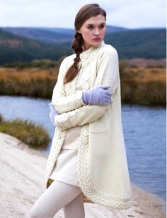 Ladies Long Aran Cable Cardigan - Beige CA $203.50 also available in black & grey