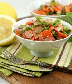 sugar snap peas, radish, carrot salad with feta and mint dressing