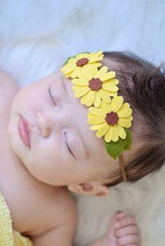 Fall Sunflower Headband Triple Daisy Felt Flowers on a Brown Skinny Elastic Headband All Sizes Newborn through Adult Hippie Yellow Daisies