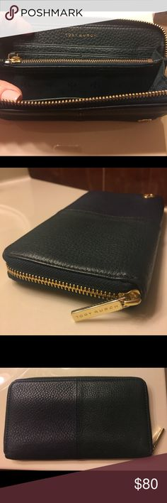 Tory Burch Robinson colorblock Wallet Tory Burch Robinson colorblock zip continental wallet  Jitney green/Tory navy  AUTHENTIC  Great condition Tory Burch Bags Wallets