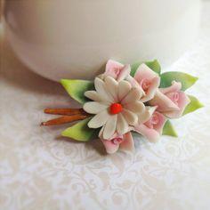 Vintage Ceramic Floral Brooch. Rose. Pink. by NicoleNicoletta, $5.00