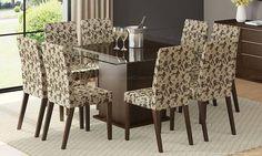 Conjunto para Sala de Jantar com Mesa Quadrada com Tampo de Vidro e 8 Cadeiras Tabaco/Bege Floral - Madesa