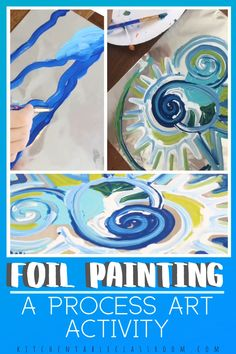 Foil Painting- an Easy Switch for an Awesome Process - The Kitchen Table Classroom - Try painting on a new surface for a new experience with this foil painting process art activity for - Art Education Lessons, Art Lessons Elementary, Art Lessons For Kids, Painting Activities, Art Activities For Kids, Painting For Kids, Painting With Glue, Abstract Art For Kids, Yarn Painting