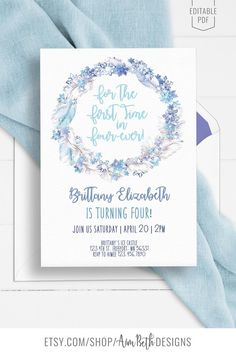 Frozen 4th Birthday Party Invitation Template - Four-ever Frozen - #frozenbirthday #frozenparty #frozenbirthdayparty #birthdayparty #girlbirthdayparty #princessbirthdayparty #birthday #birthdayinspo #diybirthdayparty #diyinvitation #editableinvitationtemplate #editableinvite #printableinvitation #digitaldownload #diybirthday #birthdaypartyinspo