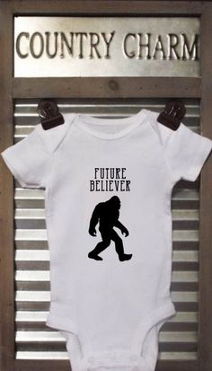 Future Believer Bigfoot Baby Bodysuit. This bodysuit is a perfect baby shower gift and sure to get a laugh!  *Bodysuits are Carter's brand. Please see their sizing chart if you aren't sure what size to order. *All bodysuits are white. The color you choose is for the text/image. *If you would like a