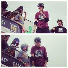 """Tony Hawk and Evan Doherty """"Big E"""" sharing a high five and some conversation at Clash at Clairemont 2014"""
