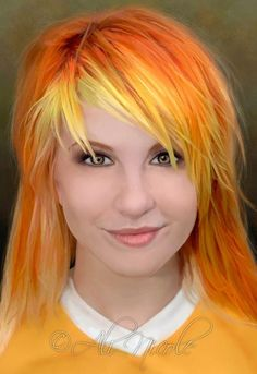 Hayley Williams Orange and Yellow hair ❤ Funky Hair Colors, Cool Hair Color, Long Hair Designs, Creative Hair Color, Yellow Hair, Orange Yellow, Funky Hairstyles, Halloween Hairstyles, Hair Images