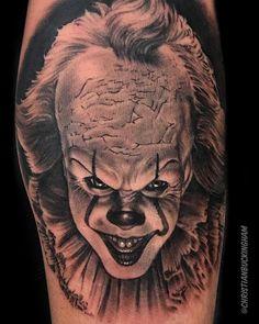 Pennywise Tattoo done by Christian Buckingham Horror Movie Tattoos, Scary Tattoos, Clown Tattoo, Hip Tattoos, 1 Tattoo, Tattoos For Guys, Sleeve Tattoos, Cool Tattoos, Potrait Tattoo