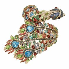 Peacock bangle in multi-coloured gemstones by Zorab Atelier de Création